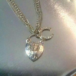 Jewelry - Silver Tone Multi Chain Choker Necklace Heart & Ho